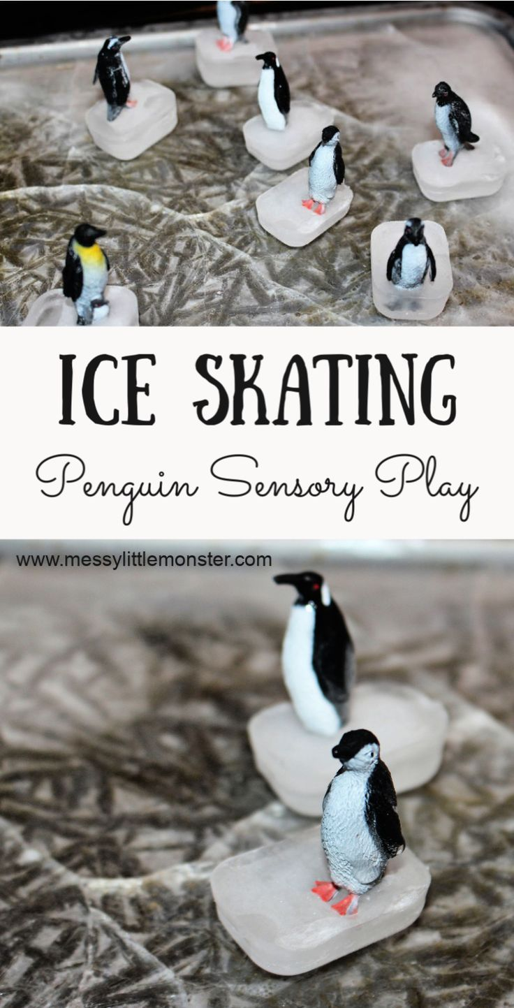 Ice Skating Penguin Small World  Sensory Play for Toddlers & Preschoolers - Sensory play toddlers, Winter activities for toddlers, Winter activities for kids, Christmas activities for toddlers, Toddler activities, Toddler play - Create an ice skating penguin small world with real ice! This fun sensory play for toddlers and preschoolers is easy to set up and great fun  If you are looking for melting experiements for toddlers, ice play or fun winter activities this penguin sensory play activity with a diy ice rink is perfect!