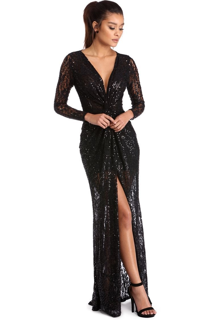 Chasity black sequin lace dress windsorcloud ballgowns