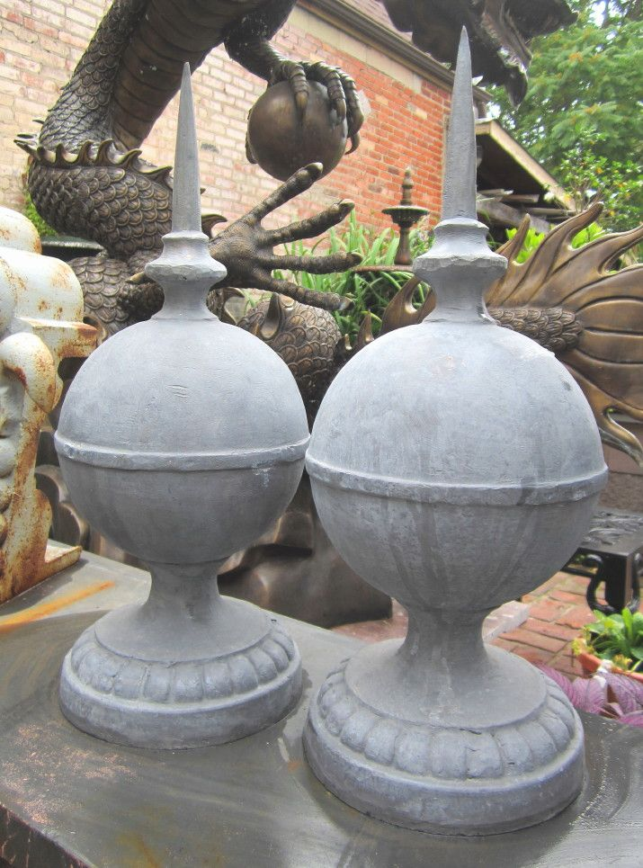 lead finials garden antique