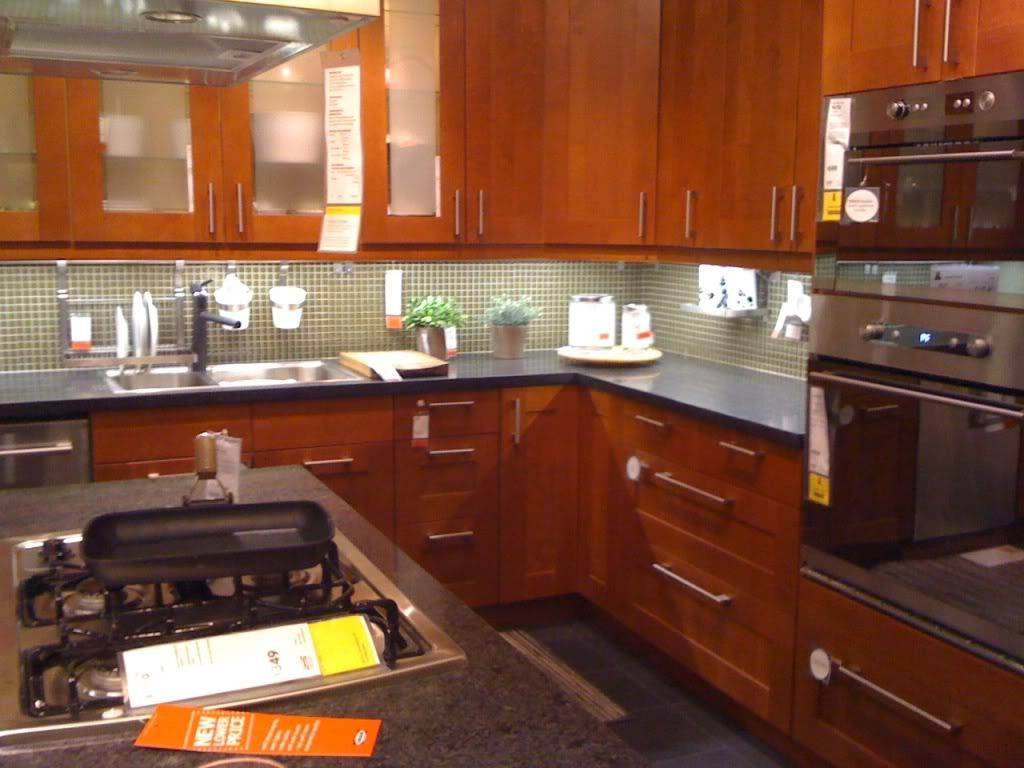 Brown Cabinets Kitchen Adel Cabinets With Green Backsplash Kitchen Final Ikea