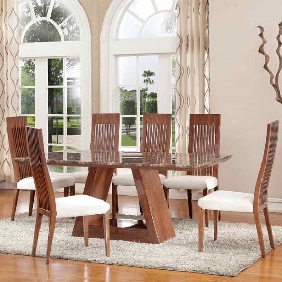 Cruise Marble Dining Table With Walnut Gloss Base And 4 Chairs Simple High Gloss Dining Room Furniture Design Inspiration