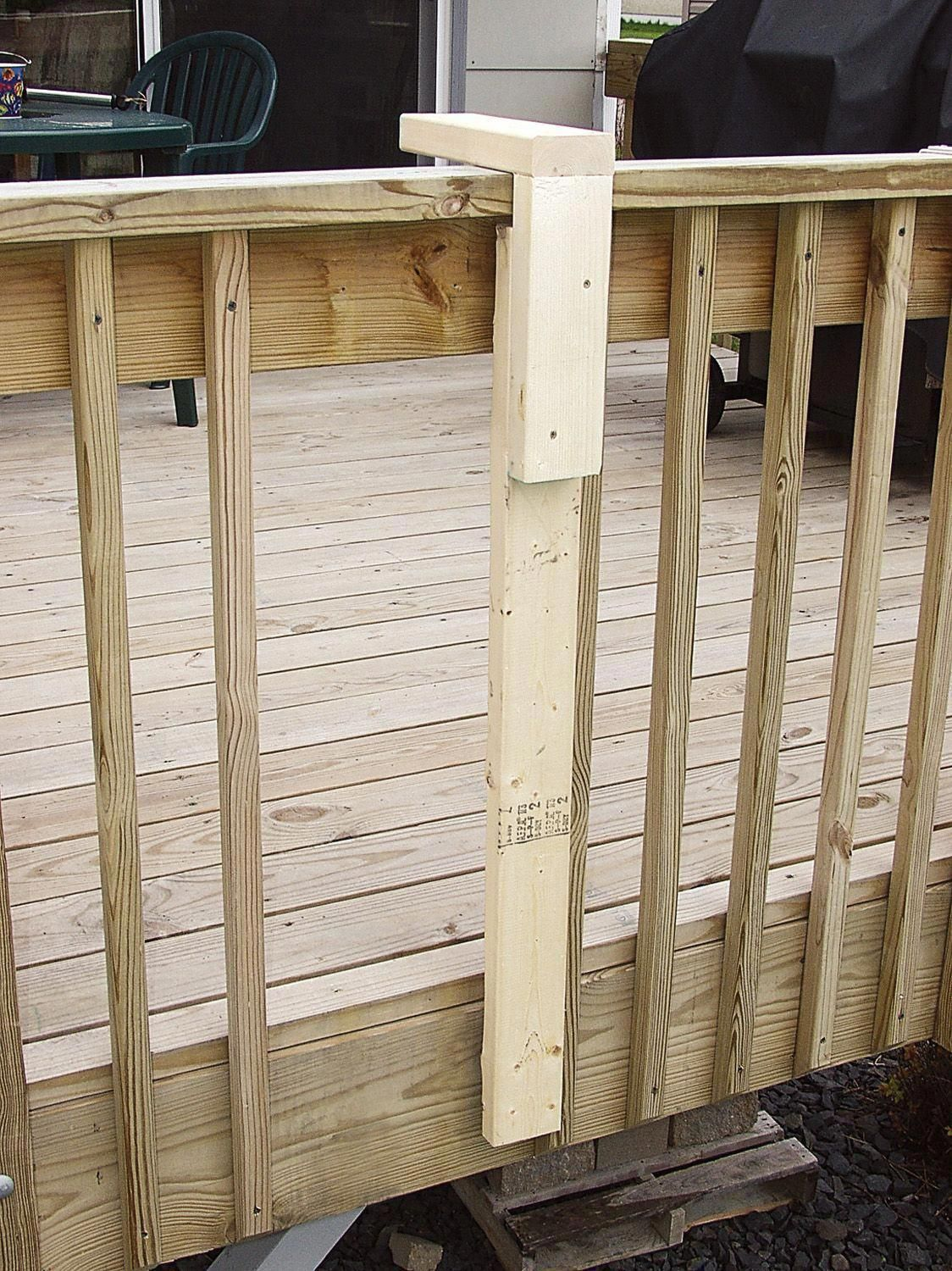 Easy Deck Building Tip A Simple Spindle Placement Jig From Scrap 2 4 Material By Hanging The Jig Over The Top Ra Easy Deck Building Easy Deck Building A Deck