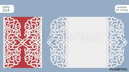 Laser cut wedding invitation card template vector Cut out the - greeting card template