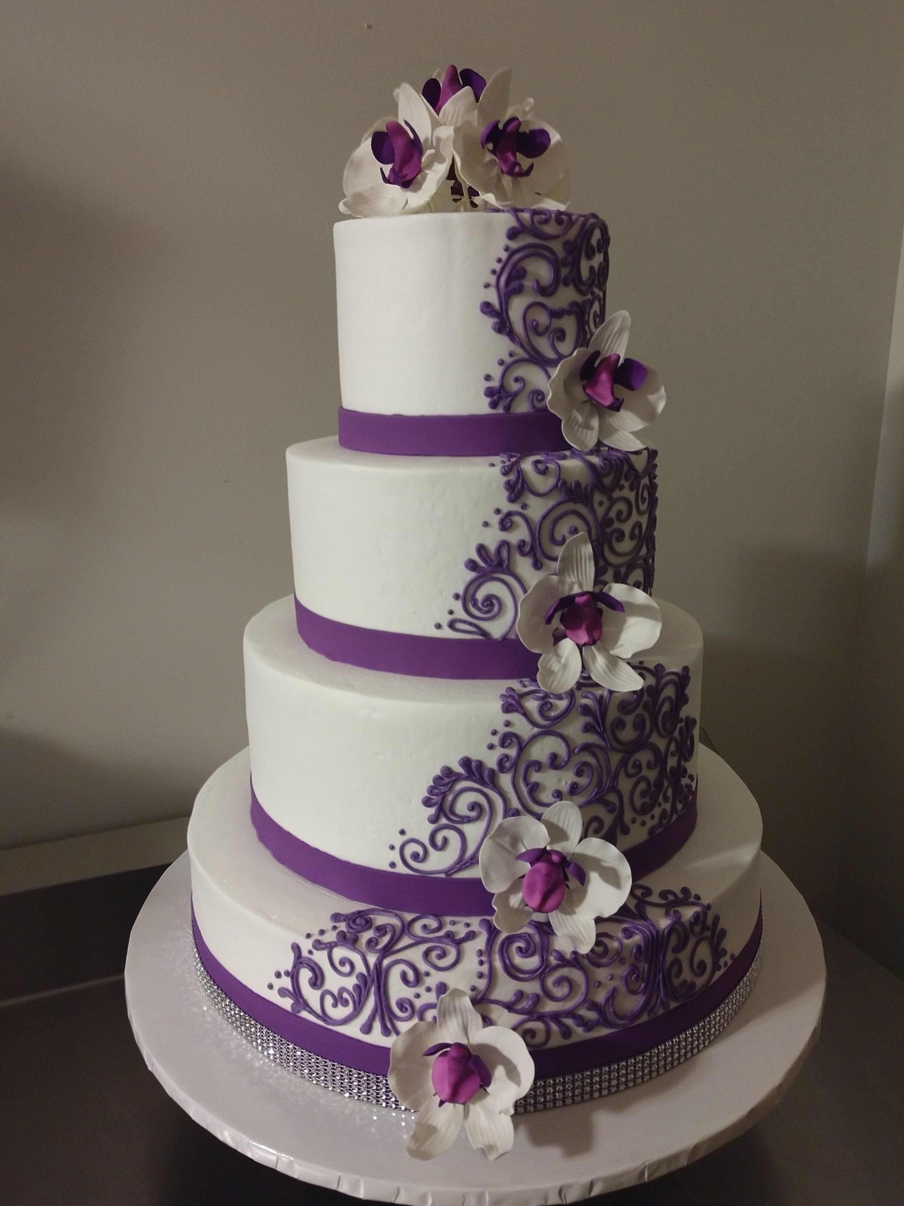 Purple Orchids Scrollwork Wedding Cake, InfoVintageBakery