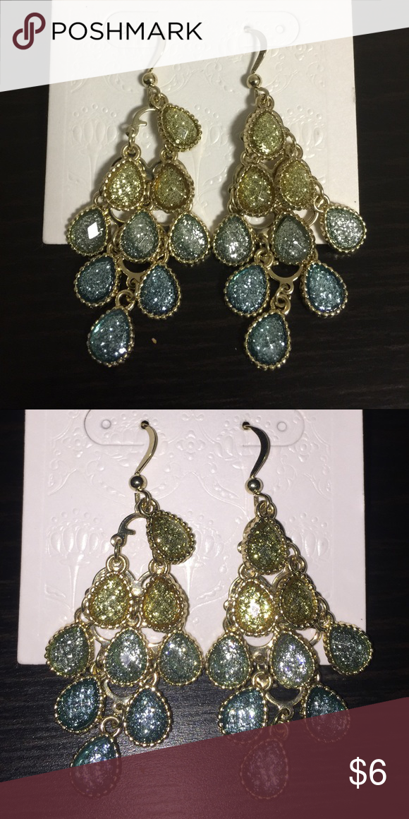 07c324341ee8d Gold, Blue & Green Chandelier Earrings NWT! Never worn. Perfect ...