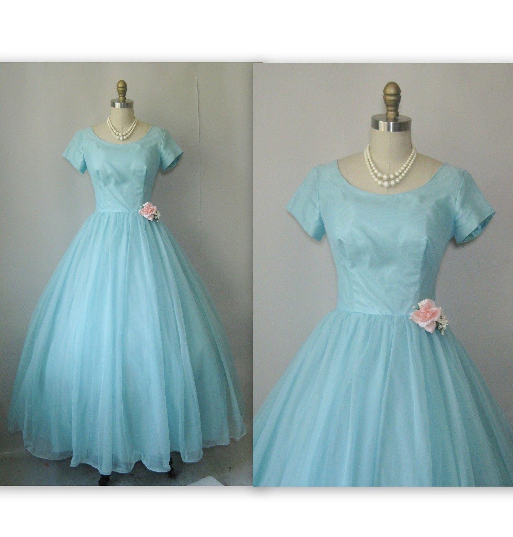 1960\'s Dreamy Chiffon Prom Wedding Party Formal Dress   Beautiful ...