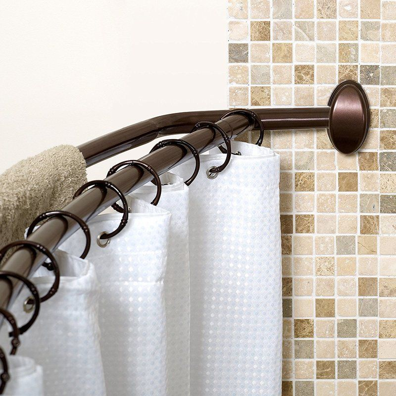 Rust Curved Shower Curtain Rod Master Bath Ideas In 2019 Cool Curtains Black