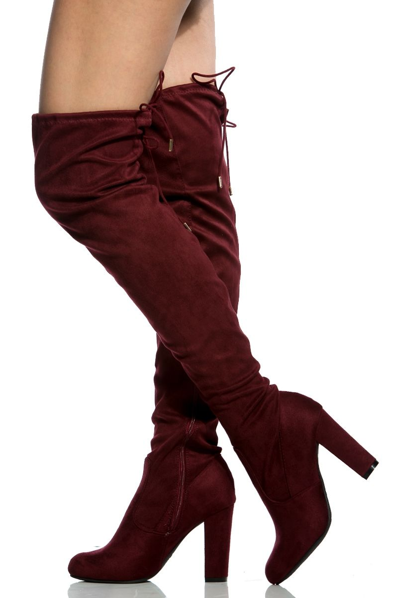 52c7fcaa734b Burgundy Faux Suede Chunky Thigh High Boots   Cicihot Boots Catalog women s…