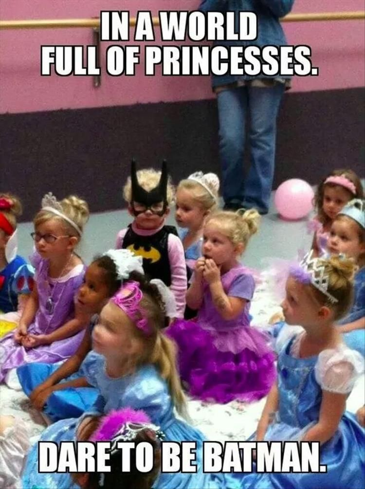 In A World Full Of Princesses Dare To Be Batman Disney Funny Silly Kids Really Funny Memes
