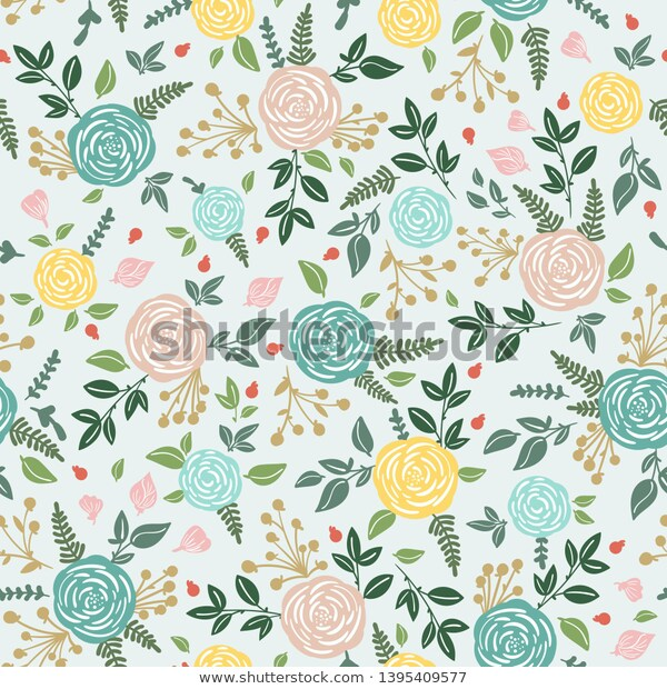 Seamless Rustic Floral Pattern Rose Grass Stock Vector Royalty Free 1395409577