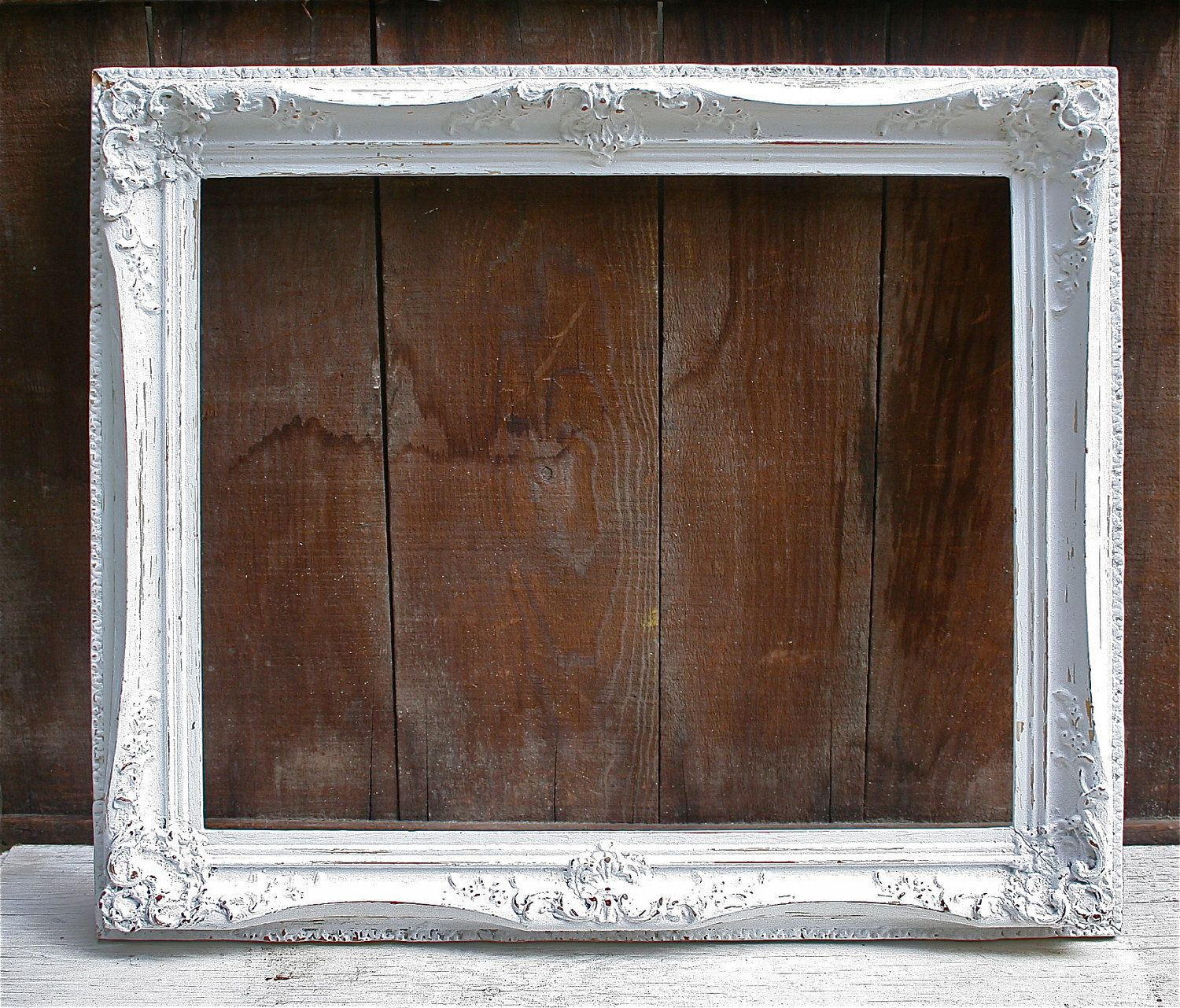 Large Antique Wood Upcycled White Distressed Frame Very Ornate
