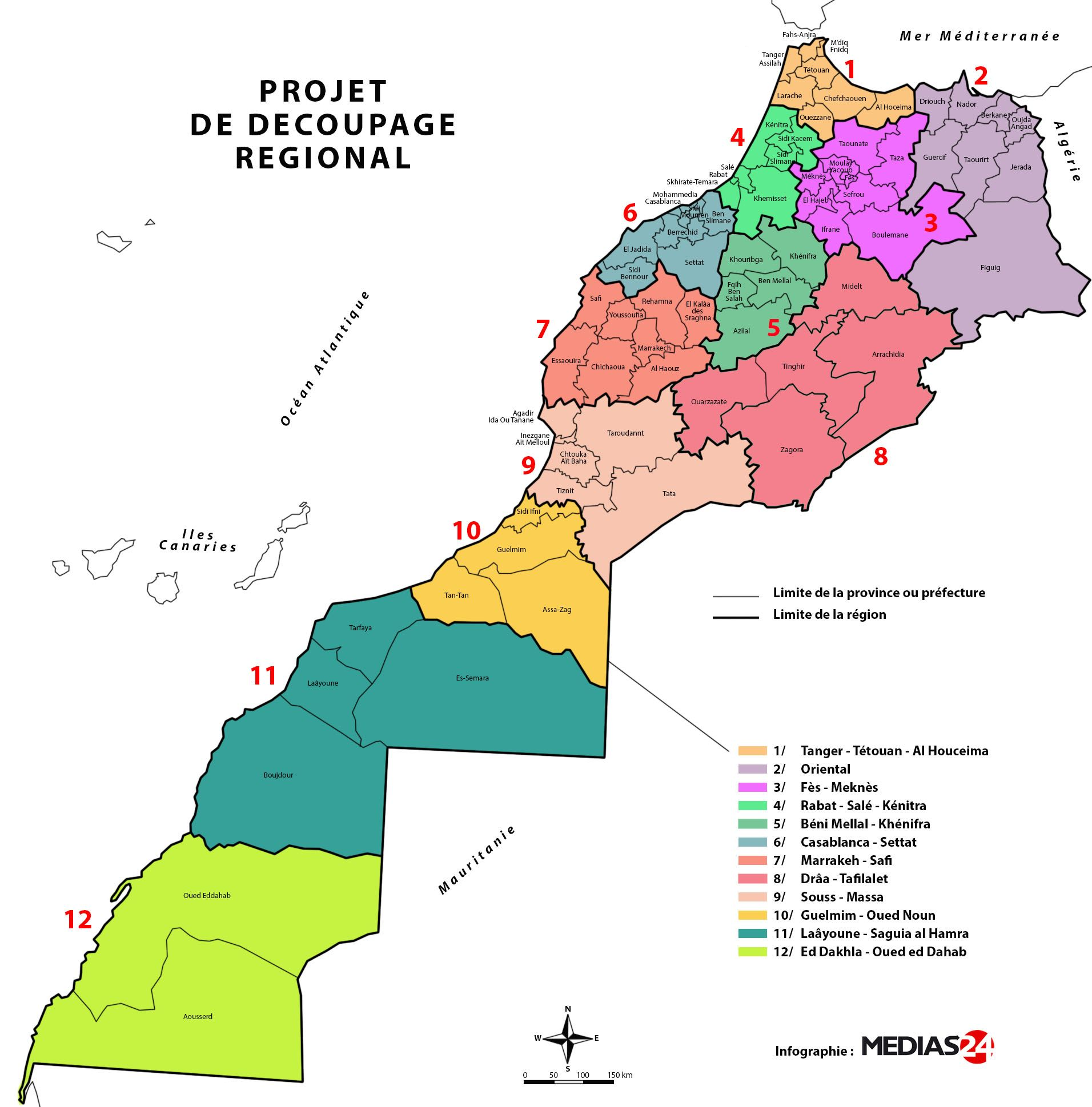 Nouvelle Carte Des Regions Du Maroc 2015 Jpg 1912 1939 Morocco Map Map Morocco