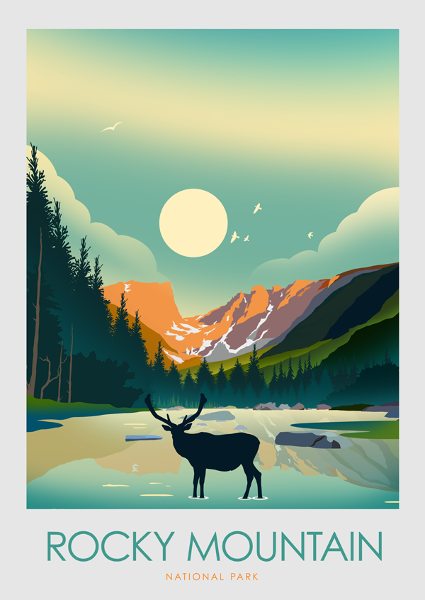Rocky Mountain National Park Us National Parks Art Print Etsy National Park Posters Park Art Travel Prints