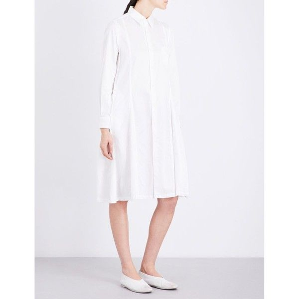 COMME COMME DES GARCONS Flared cotton shirt dress (€525) ❤ liked on Polyvore featuring dresses, white flare dress, t-shirt dresses, long sleeve shirt dress, long sleeve flare dress and skater skirt