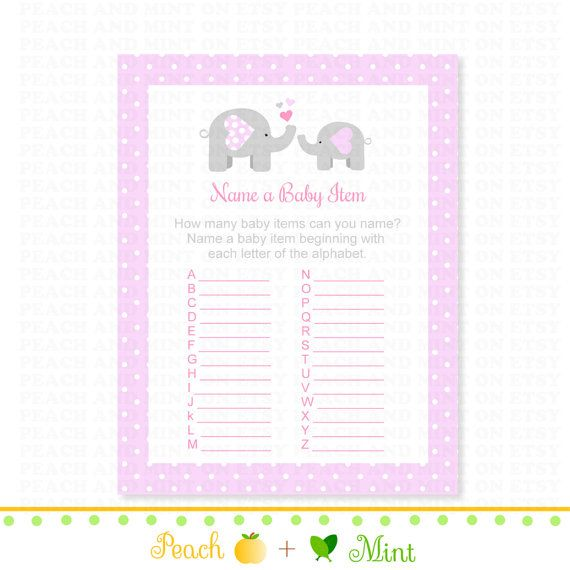 Girl Elephant Baby Shower Name an Item Game - printable baby shower games on Etsy, $3.00