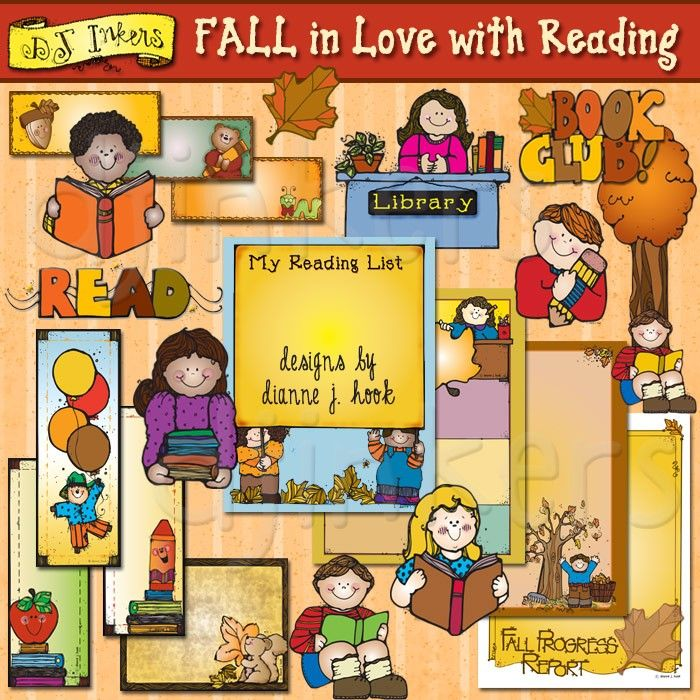 Fall in Love with Reading, reading clip art, fall, teacher ...