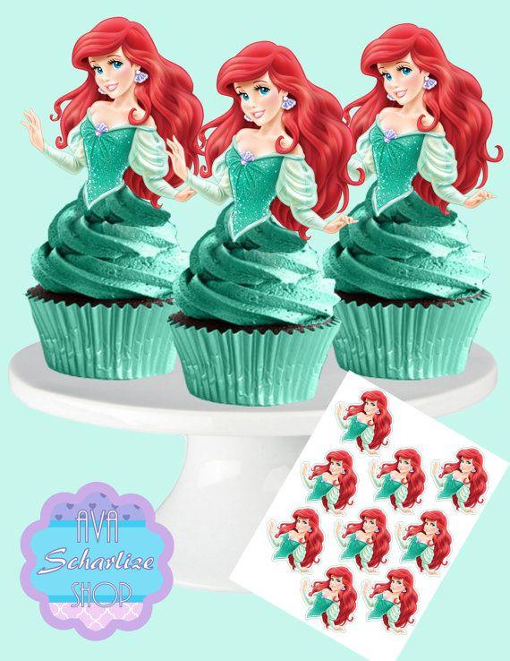 Cake topper Die cut Ariel Mermaid cupcake topper Birthday Disney theme party Party decoration Princess party Mermaid