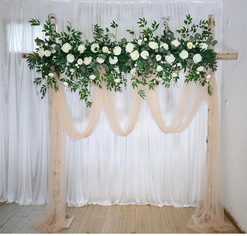White Rose Greenery In Dark Eucalyptus Wedding Archway Flower Garland Large Wedding Corner Swag Wedding Backdrop Silk Arch Flowers White Roses Wedding Arch Flowers Wedding Archway