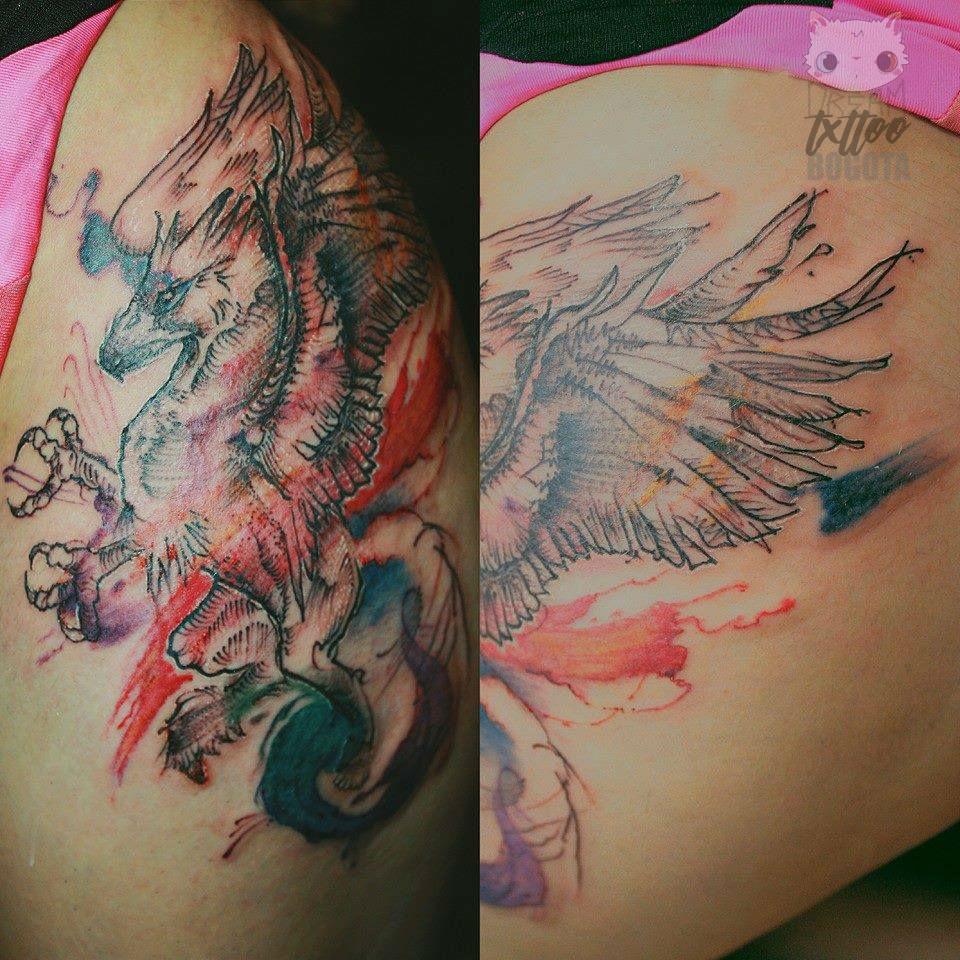 Watercolor Hippogriff Tattoo Made On The Thigh Tatuaje De Un Hipogrifo En Acuarela Hecho En El Muslo Love Photoofthe Time Tattoos Intenze Ink Ink Tattoo