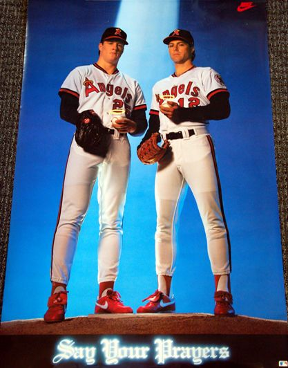 California Angels SAY YOUR PRAYERS Jim Abbott Mark Langston NIKE Poster (1990) - Sold for $46.00 Feb. 2014