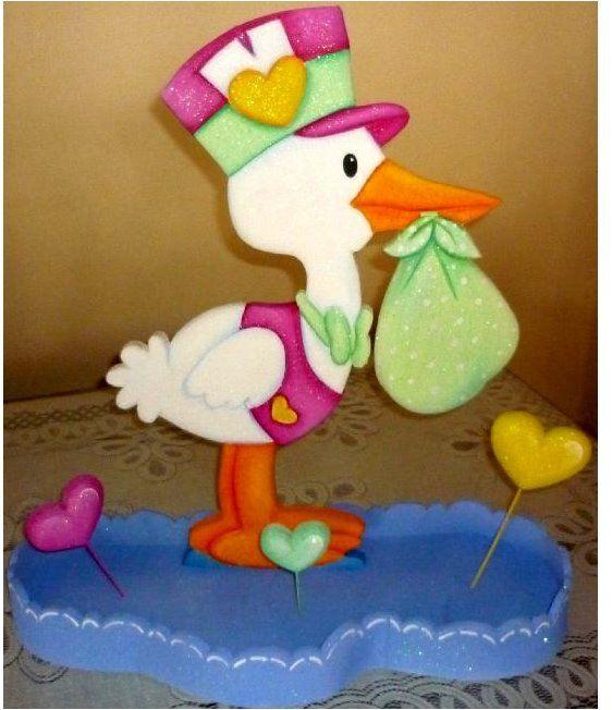 Dibujo cigueña baby shower - Imagui | foamy | Pinterest | Dibujo ...