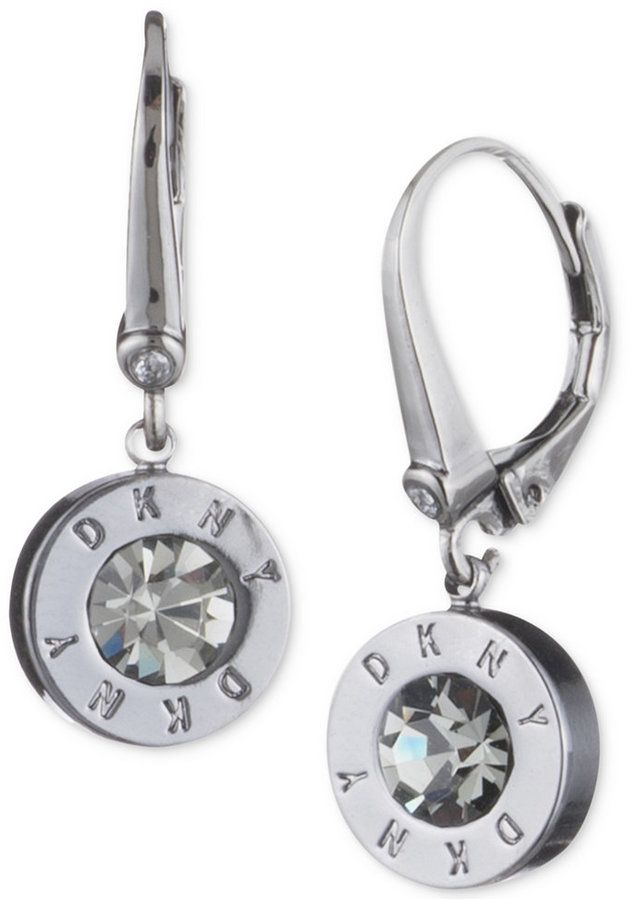 Dkny Crystal Logo Drop Earrings Created For Macy S Women Pinterest And Action