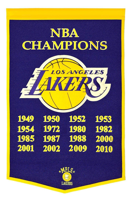 Los Angeles Lakers NBA Champions Dynasty Banner | Nba champions, Los ...