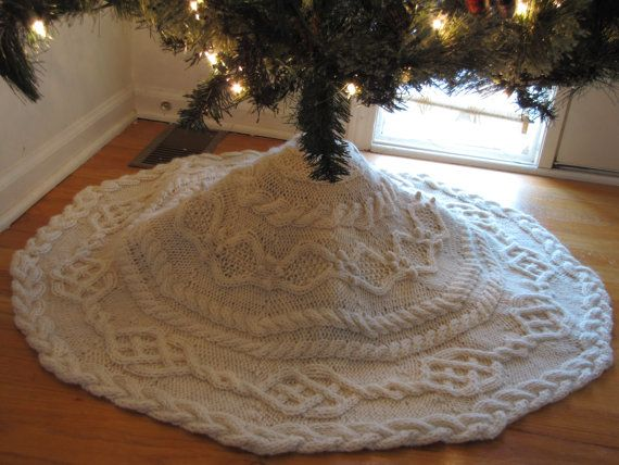 New 2 Sizes Cable Tree Skirt Knitting Pattern Knitting