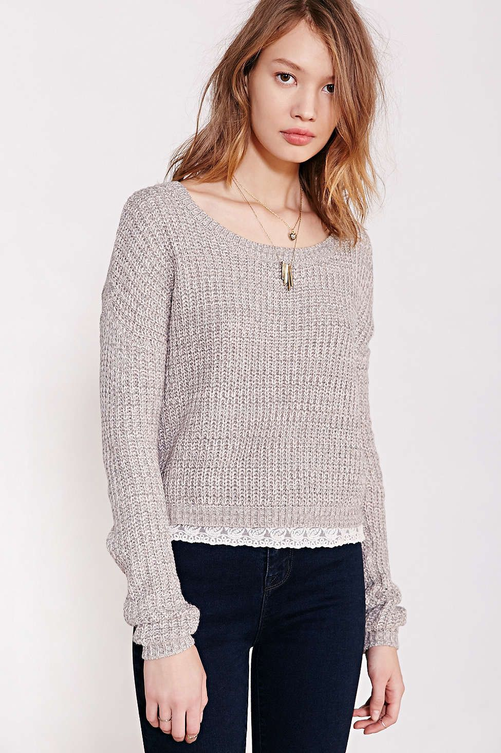 Blu Pepper Lace Trim Pullover Sweater Urban Outfitters Tees