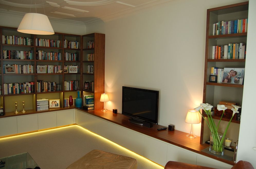 Living Room Shelving And Storage Incorporating AV Equipment And LED  Lighting.