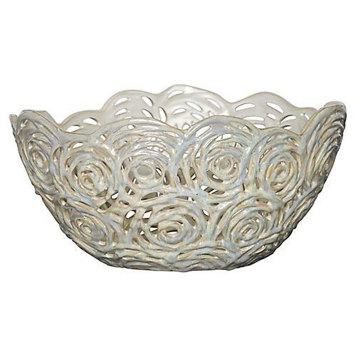 Antique Decorative Bowls Pierced Openwork Ceramic Bowl Cream  Mg Decorative Accessories