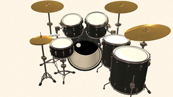 6 Piece Drum Kit 3D Max