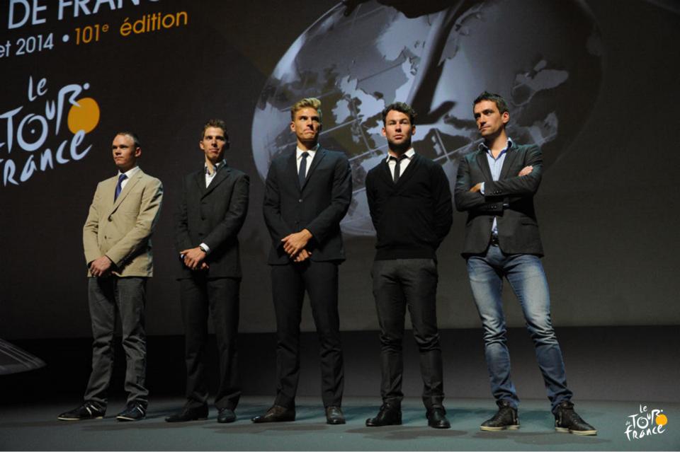 Chris Froome, Rui Costa, Marcel Kittel, Mark Cavendish and Christophe Riblon at 2014 Tour de France route presentation.
