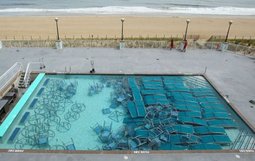 Outdoor Furniture Sits In A Pool At The Hilton Hotel In Ocean City, Md.