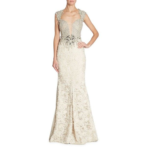 ALBERTO MAKALI Embellished Lace Gown (1,080 CAD) ❤ liked on Polyvore featuring dresses, gowns, lace evening gowns, beaded evening gowns, white lace evening gown, white evening dresses and white mermaid gown