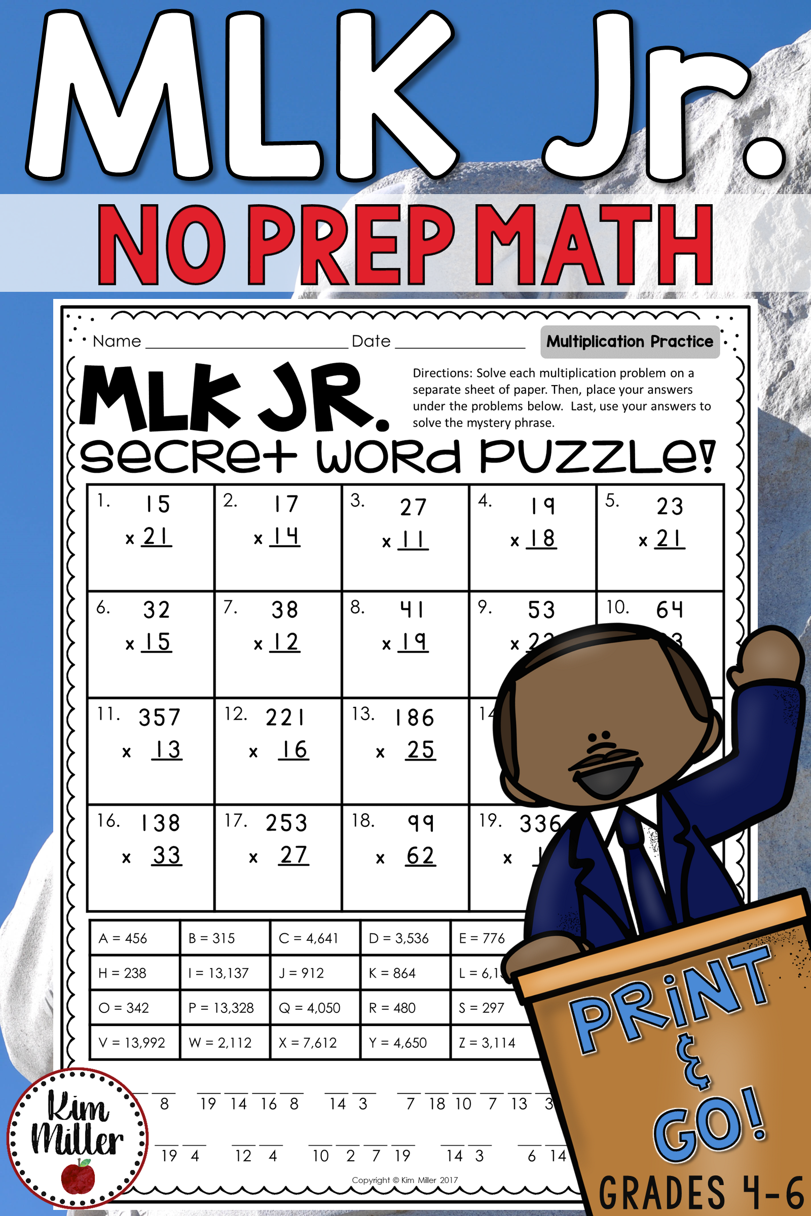 Martin Luther King Jr No Prep Math Worksheets