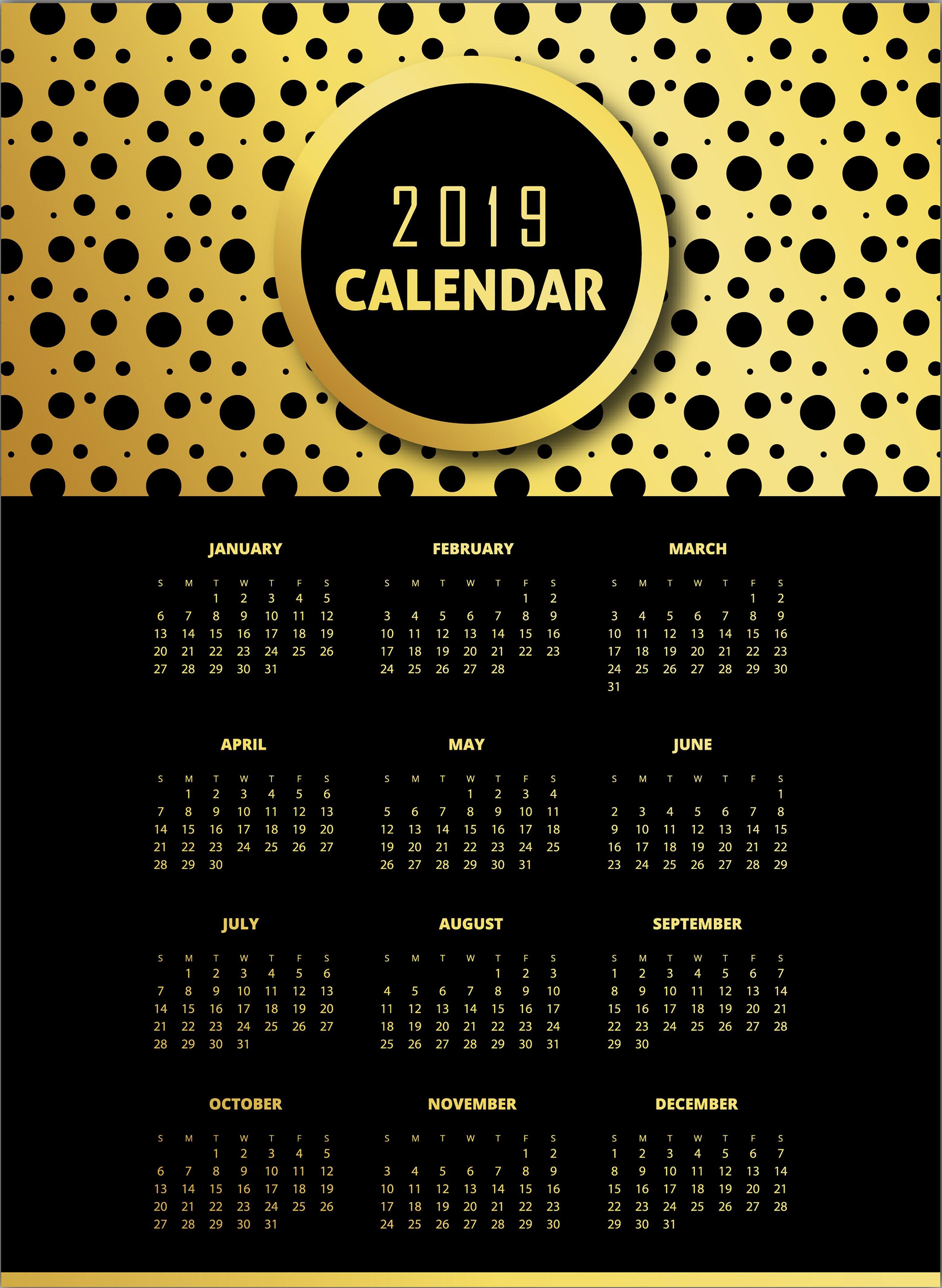 black golden 2019 pattern calendar designs calendar calendar