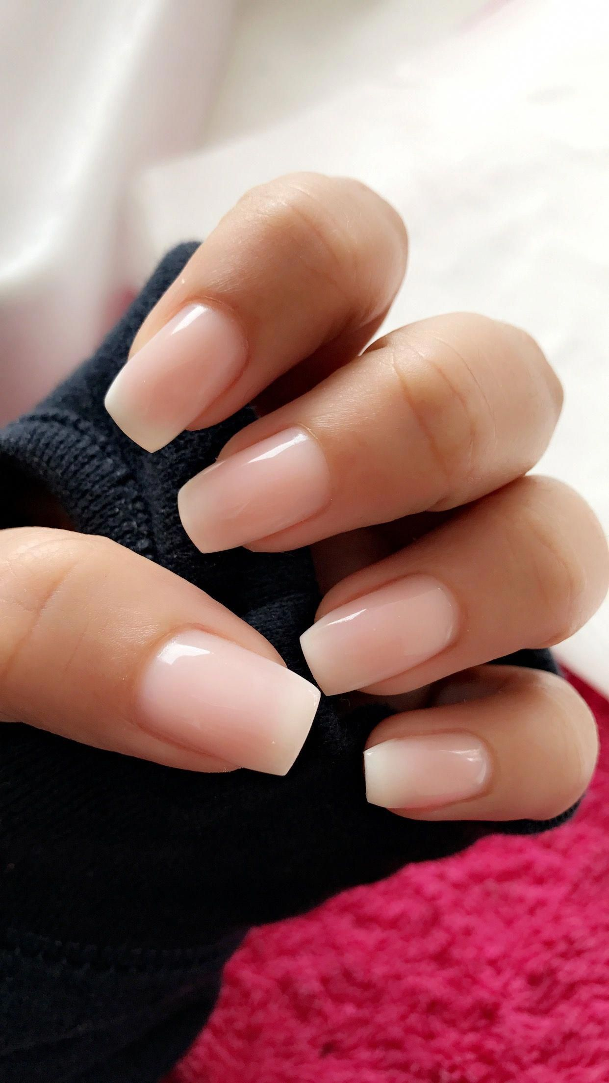Ombré French tip almond shaped nails #longnails #