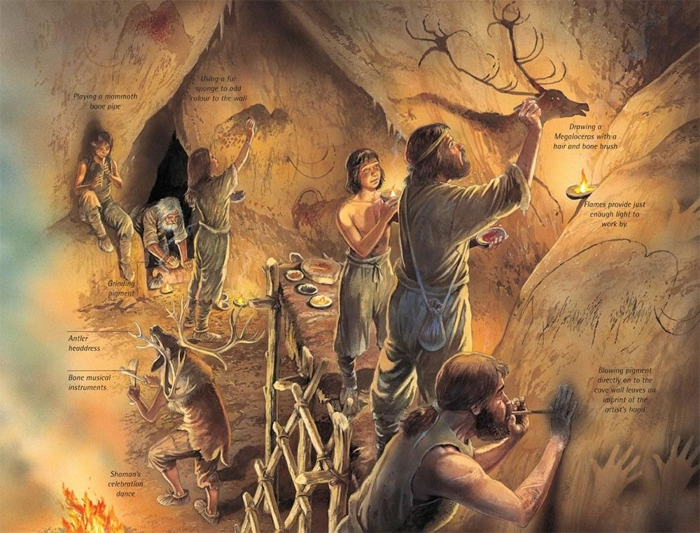 Man Cave Paintings : Stone age cave paintings have been found in many caves