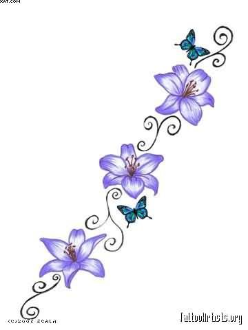09fe4af27 Butterfly With Blue Flowers Vine Tattoo Designs | Tatoos/ Piercing ...