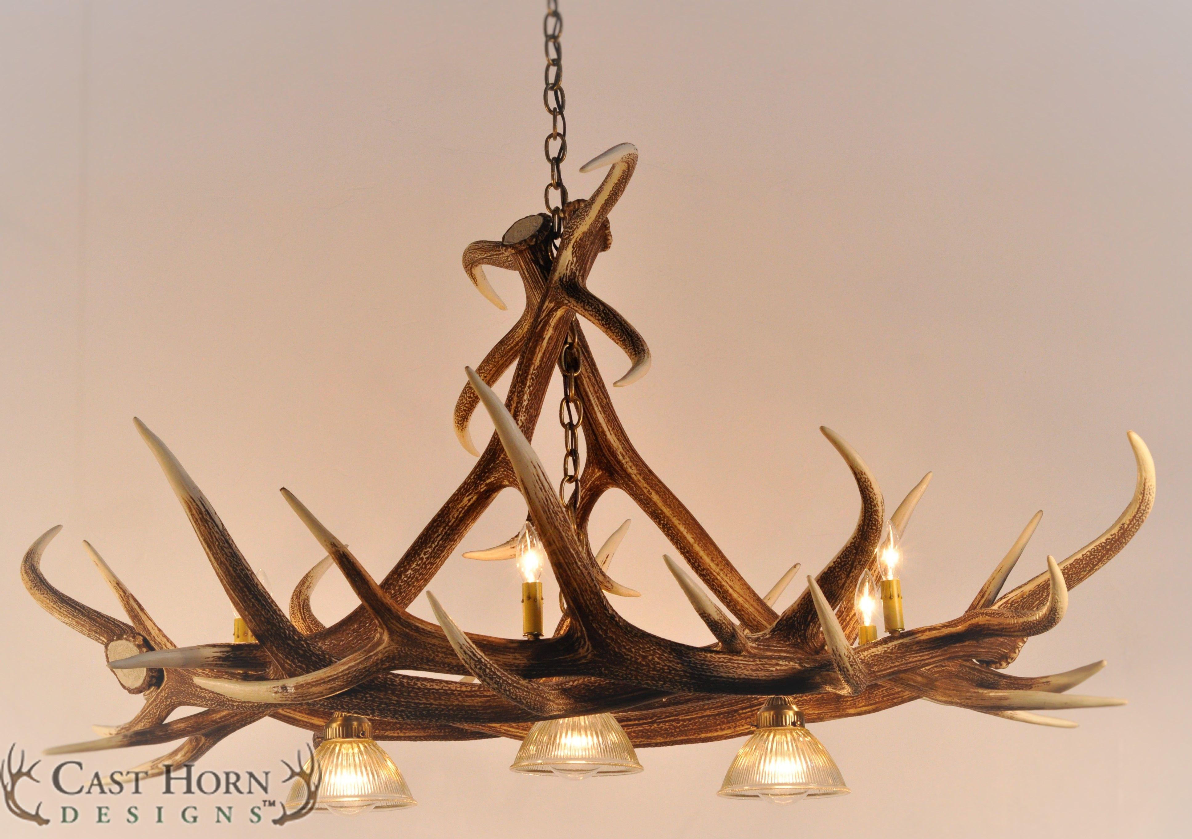 Elk 6 antler chandelier with 3 downlights by cast horn designs elk 6 antler chandelier with 3 downlights by cast horn designs aloadofball Choice Image