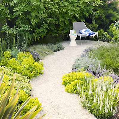 Two-day path project    You can install this pretty path in about a weekend. (The plantings take a little longer to mature; they'll look like this in about nine months.)    The gently curving path invites you to stroll among the plants, and leads to a small circular patio.