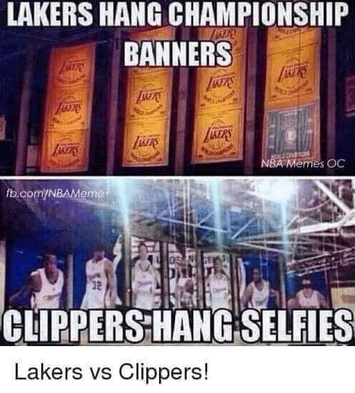 Lakers Hang Championship Banners Nba Memes Funny Nba Memes Nba Funny