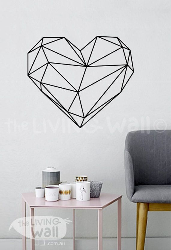 geometric heart wall decal decor bedroom heart vinyl wall sticker wall art for bedroom. Black Bedroom Furniture Sets. Home Design Ideas