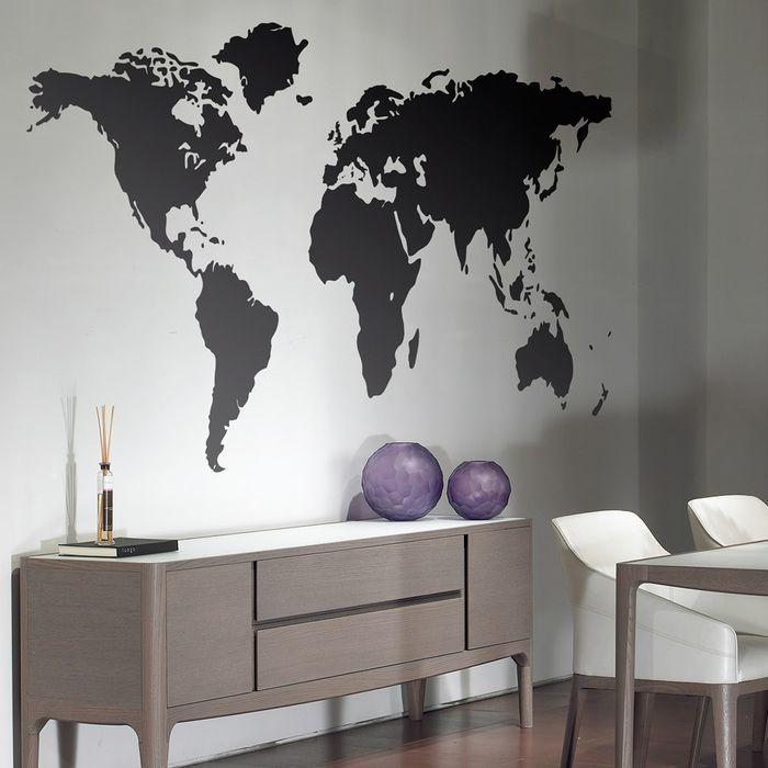 Mapamundi silueta mapa del mundo vinilos decorativos Nombres para decorar  paredes 7234325149594