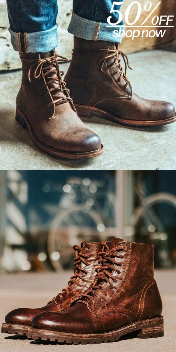 Men S Vintage Handmade Genuine Leather Lace Up Boots Boots Men Boots Mens Winter Boots