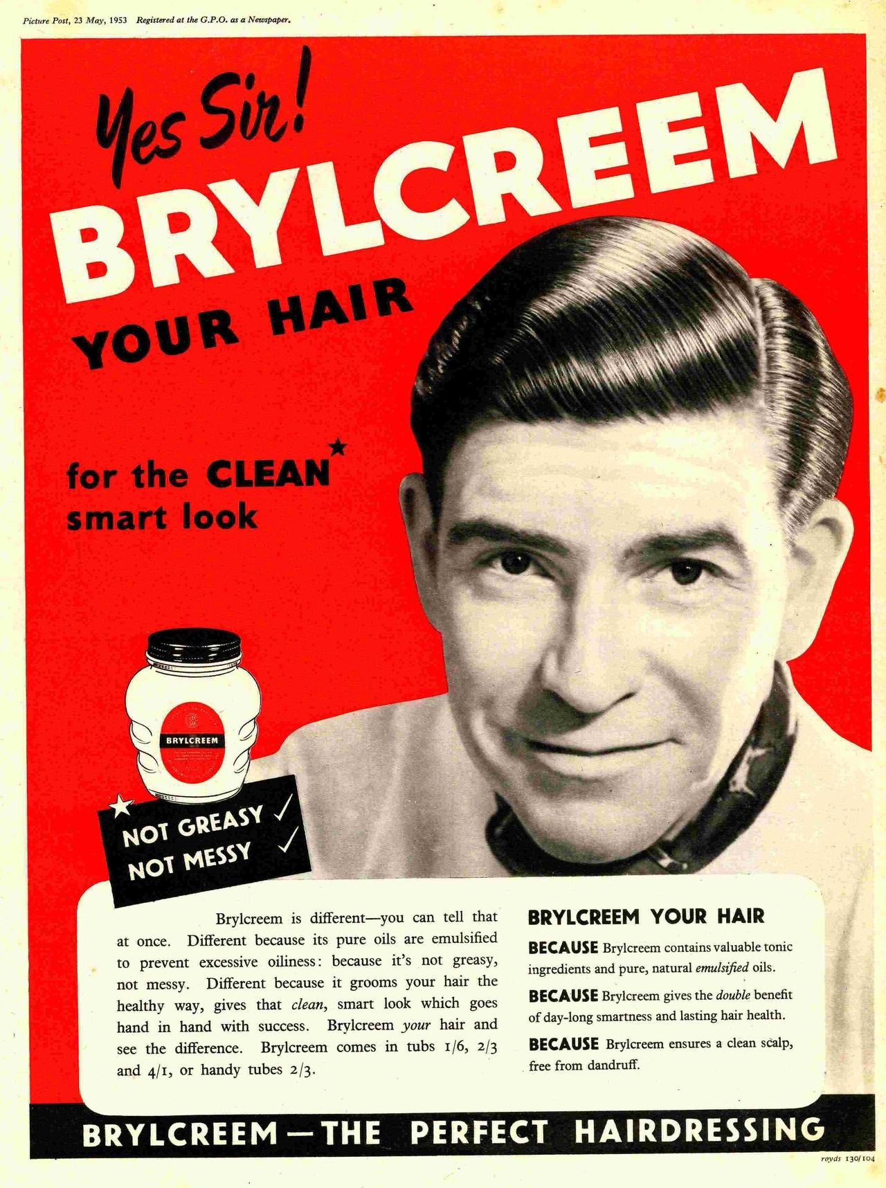 Brylcreem Comb Hair Smart Look Old Vintage Retro Product Advert Picture Poster