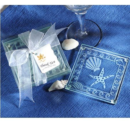 These Beach Themed Glass Coasters Wedding Favors Will Charm Your Guests With Their Artistic Sea Designs Which Include A Large Starfish And Scallop