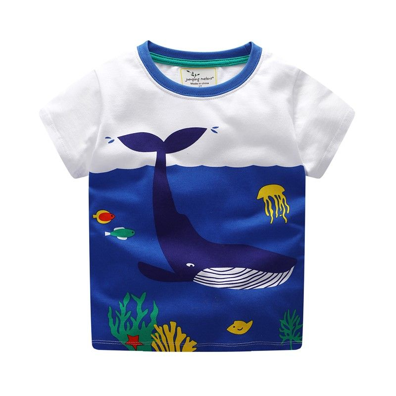 Very Cute! Kids Blue Tee Shirt Big Fish In a Little School Shark Color Design