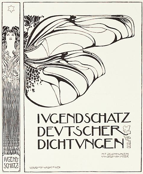 book cover by kolo moser feb 1898 ver sacrum typo graphic pinterest jugendstil. Black Bedroom Furniture Sets. Home Design Ideas